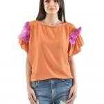bluza cu aplicatii oranj si fucsia